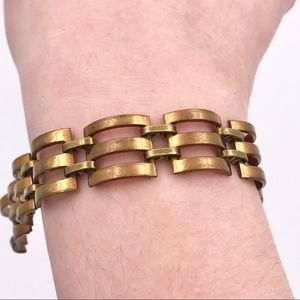 Vintage Jewelry - Antique Copper Plated Brass Square Link Bracelet